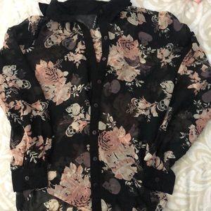 Floral printed sheet skull blouse